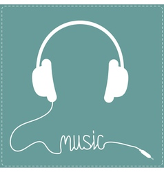 White headphones with cord in shape of word music vector