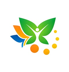 Leaf vegetarian people spa logo vector