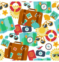 seamless backgrounds of travel summer vector image