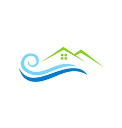 House water beach abstract logo vector