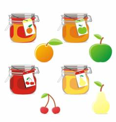 Jam jars and fruits set vector