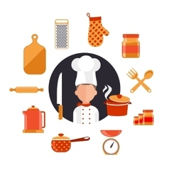 Cooking serve meals and food preparation vector