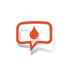 Water drop message sticker orange vector