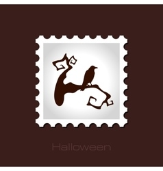 Raven on a branch halloween stamp vector