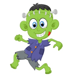 Cartoon frankenstein kid vector