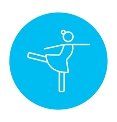Female figure skater line icon vector