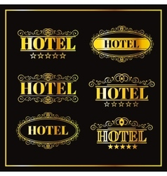 Hotel vintage golden labels vector