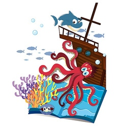 Book of underwater and shipwrecked vector image