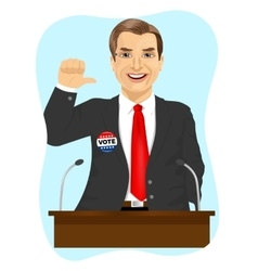Political candidate makes a campaign speech vector