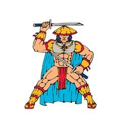 Samurai warrior standing front with swords vector