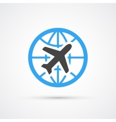 Trendy airplane travel flight icon vector