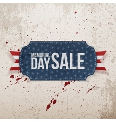 Memorial day sale realistic label and ribbon vector