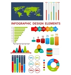 Graphs and charts with map for infographics design vector