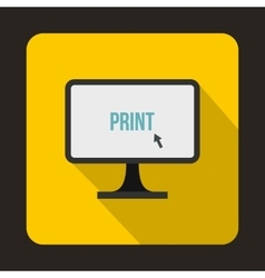 Print word on a computer monitor icon flat style vector image