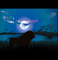 african night with lion vector image