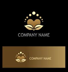 Beauty love heart organic gold logo vector