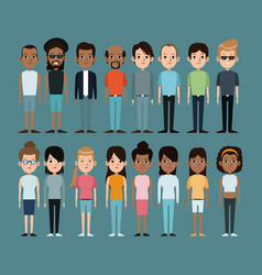 Cartoon people caucasian and afro american vector