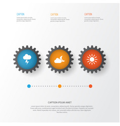Climate icons set collection of sun lightning vector