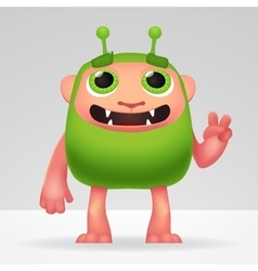 Cute green alien invader with silly smile and vector image vector image