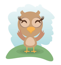 Cute owl animal winking vector