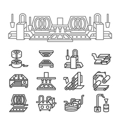 Food production simple line icons vector image