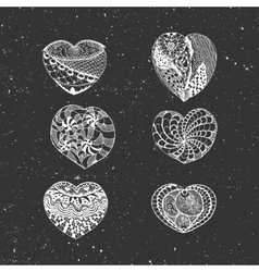 Hand Drawn chalk Valentines Day Hearts Set vector image