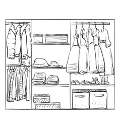 Hand drawn wardrobe sketch clothes for baby girl vector