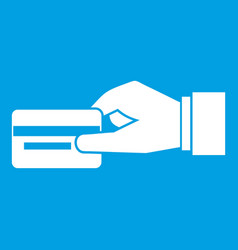 Hand holding a credit card icon white vector