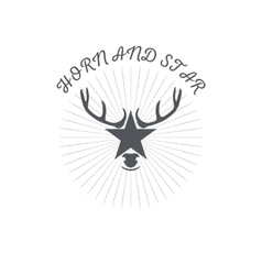 Horn and a star or deer s head poster badge with vector image vector image