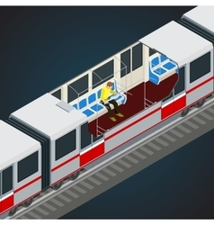 Interior view of a subway car train subway vector