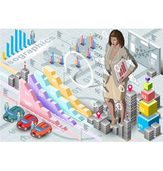Isometric infographic woman secretary set elements vector