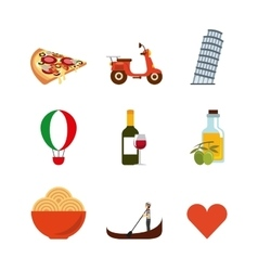 landmarks icon set Italy culture design vector image