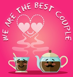 Loving couple of coffee cup and kettle vector