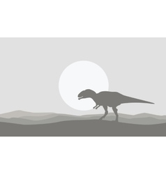 On the desert mapusaurus scenery of silhouettes vector image vector image