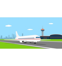 plane on landing strip vector image