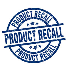 Product recall blue round grunge stamp vector