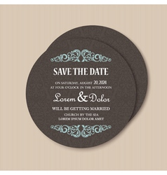 Round save the date card vector