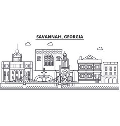 Savannah georgia architecture line skyline vector