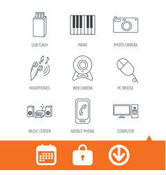 Smartphone web camera and usb flash icons vector