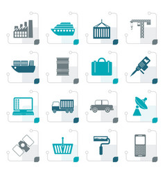 Stylized industry and business icons vector