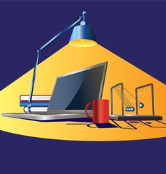 workplace in light vector image