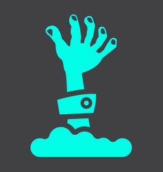 Zombie hand glyph icon halloween and scary vector