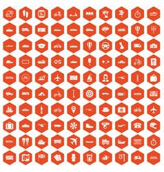 100 public transport icons hexagon orange vector