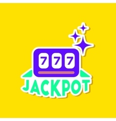 Paper sticker on stylish background jackpot lucky vector