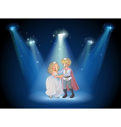 A stage with a prince and a princess vector