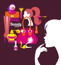 Beautiful woman silhouette with fashion icons vector