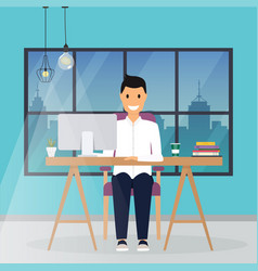 Business man working at his office desk flat vector