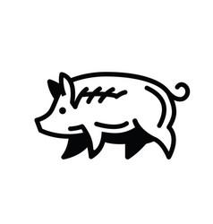 Linear black drawing of swine vector