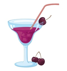 Glass with ice drink and cherries vector