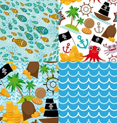 4 Seamless background set of pirate island vector image